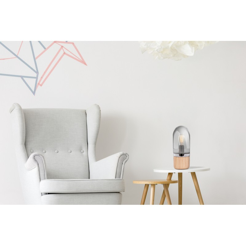Lámpara de mesa diseño cristal Bell H 33 cm Ø 14 cm BRENDA (madera natural, gris) - image 41030