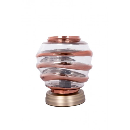 Modern H 22 cm Ø 20 cm ALADDIN glass table lamp (Transparent / copper)