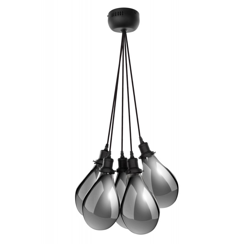 Lampe à suspension industriel 5 globes en verre H 35 cm Ø 45 cm ANGEL (gris) - image 41086