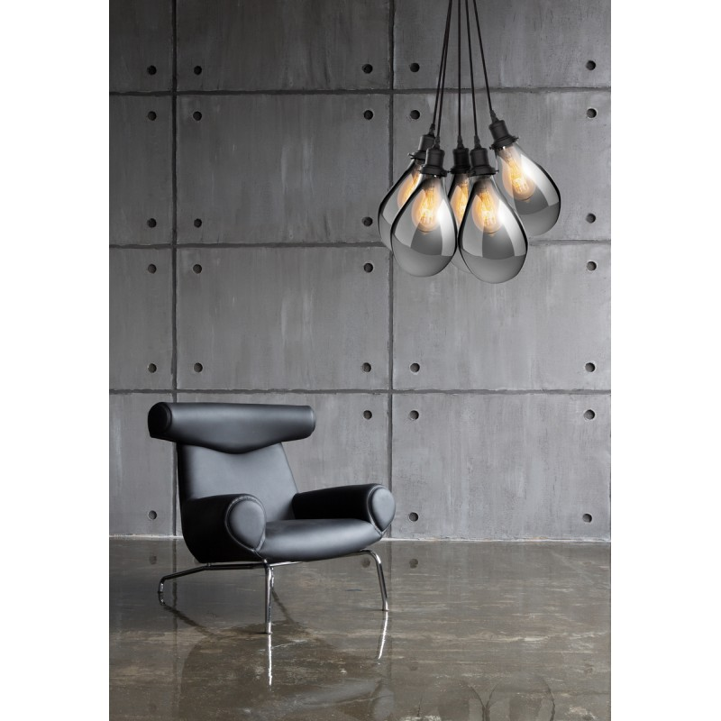 Lampe à suspension industriel 5 globes en verre H 35 cm Ø 45 cm ANGEL (gris) - image 41087
