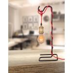 Lámpara de mesa de metal de LAYANA (negro) cable rojo