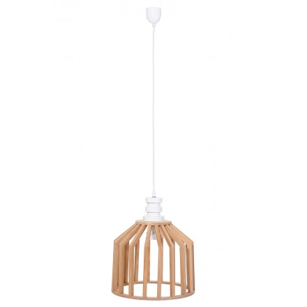 Lampe à suspension scandinave en bois H 39 cm Ø 33 cm TIYA (naturel)