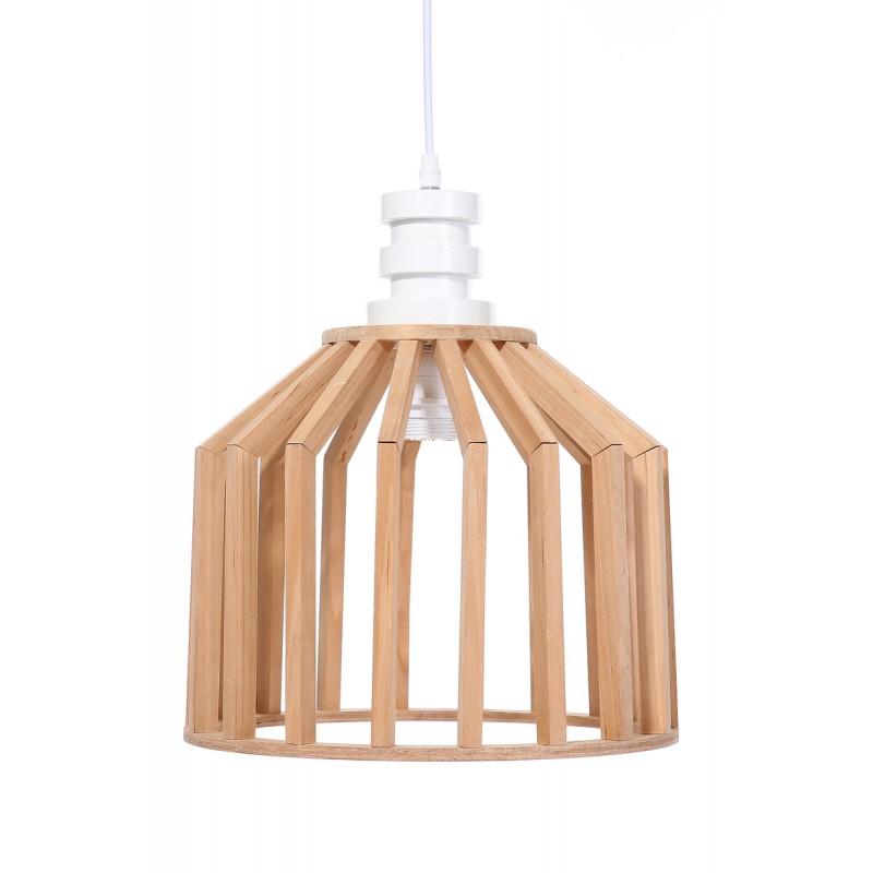 Lampe A Suspension Scandinave En Bois H 39 Cm O 33 Cm Tiya Naturel