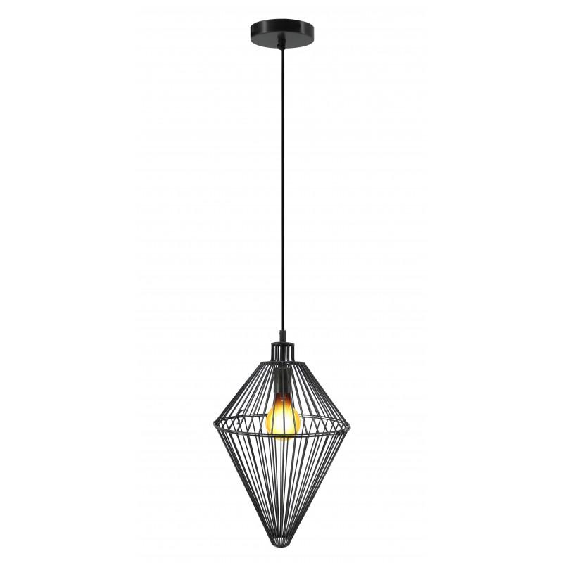 Lampe à suspension industriel H 52 cm Ø 32 cm SACHA (noir) - image 41154