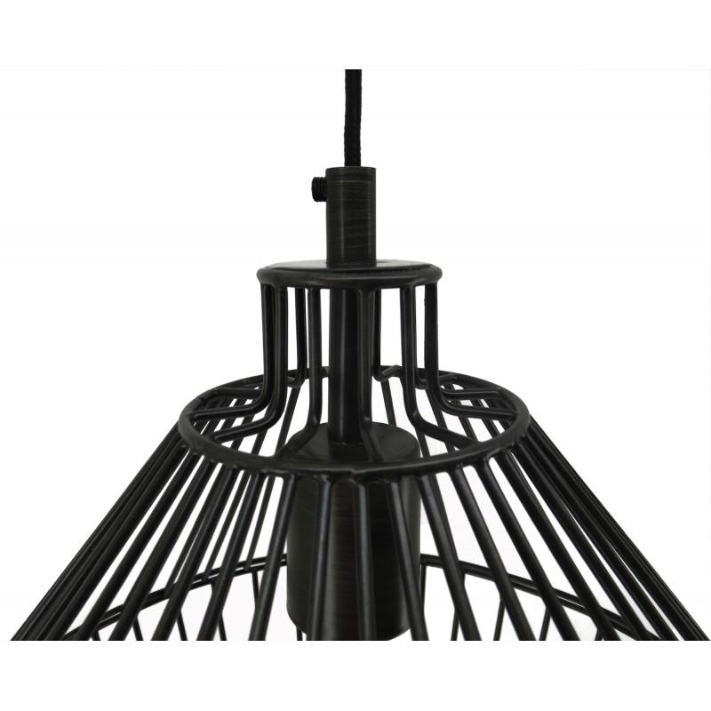 Lampe à suspension industriel H 52 cm Ø 32 cm SACHA (noir) - image 41157