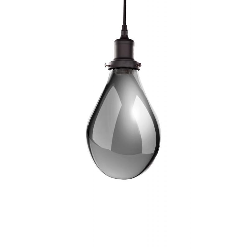 Lampe à suspension industriel en verre H 25 cm Ø 18 cm LEONA (gris) - image 41195