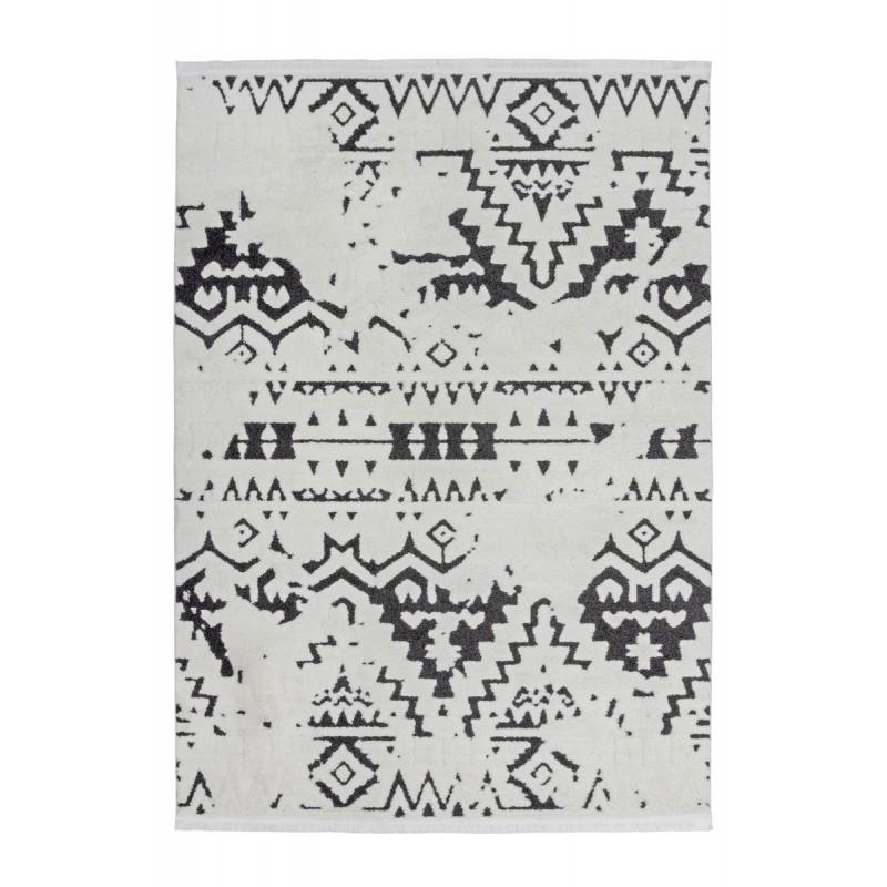 Tapis ethnique AGADIR rectangulaire tissé à la machine (Blanc Noir) - image 41286