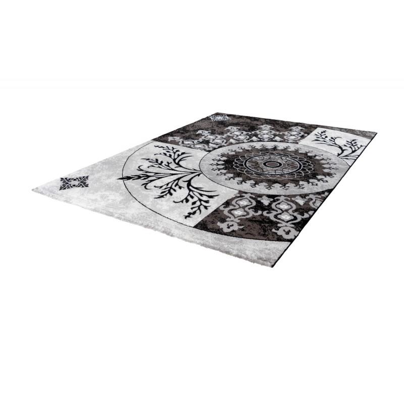 Tapis oriental FES rectangulaire tissé à la machine (Noir) - image 41382