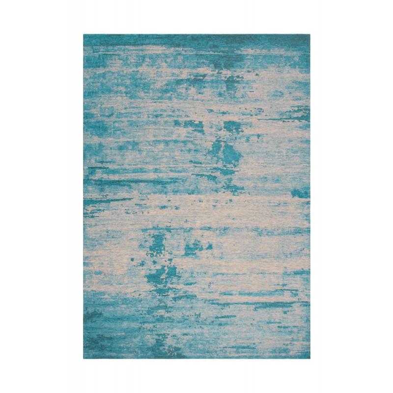 Tapis vintage ROULY rectangulaire tissé à la machine (Bleu turquoise)