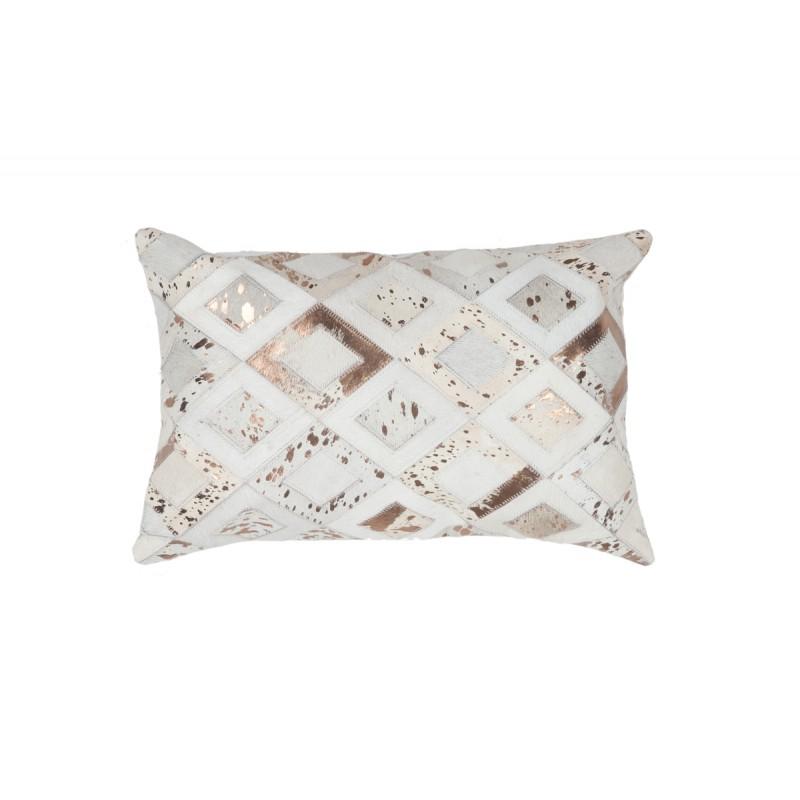 100% leather BOSTON rectangular cushion handmade (bronze ivory) - image 41516