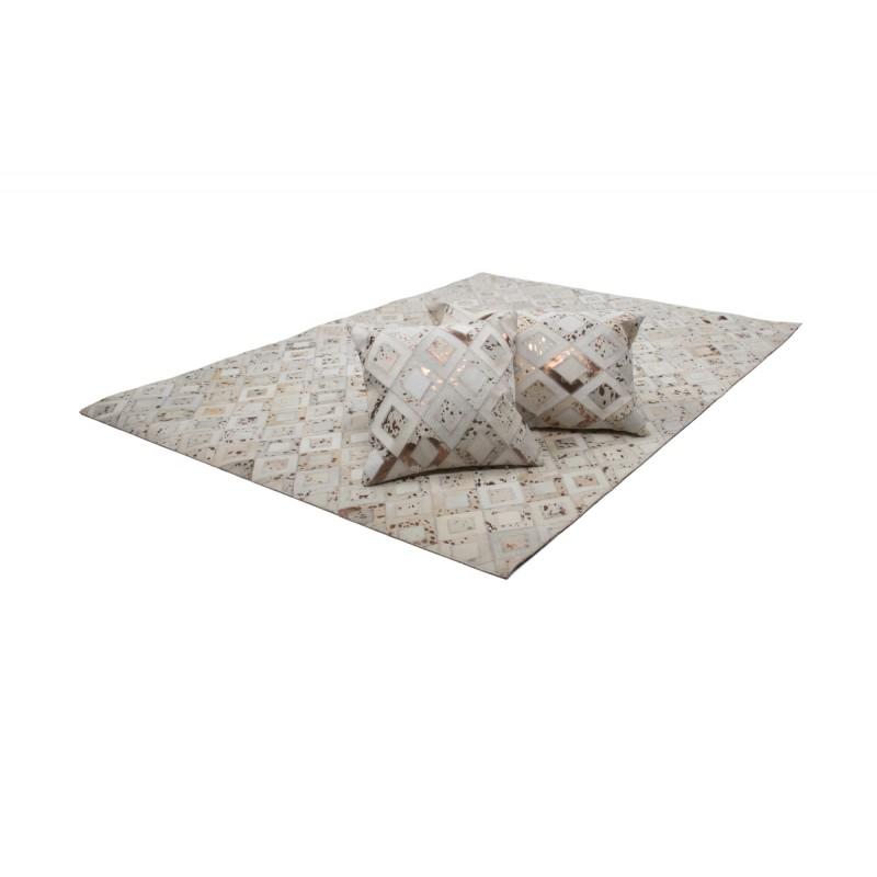 100% leather BOSTON rectangular cushion handmade (bronze ivory) - image 41518