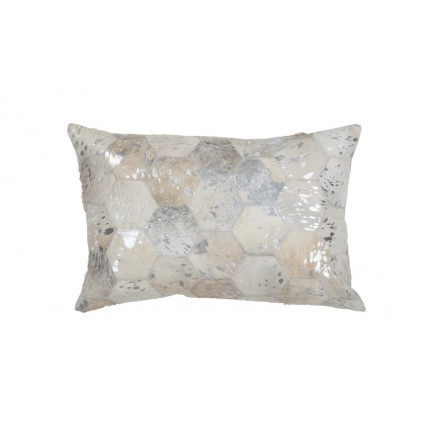 100 % Leder DETROIT rechteckige Kissen handgemacht (Silber)