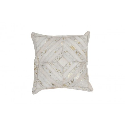 100% leather cushion ORLANDO Carré makes hand (ivory gold)