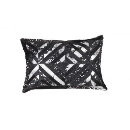100% cuero ORLANDO Cojín rectangular hecho a mano (negro gris)