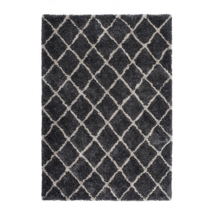 Graphic rug rectangular Hungary made hand (grey-black)