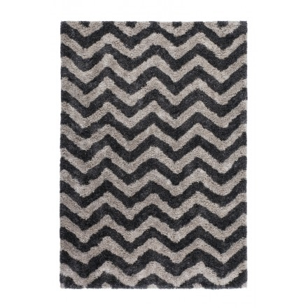 Graphic Rug Rectangular Danube Made Hand Grey Black