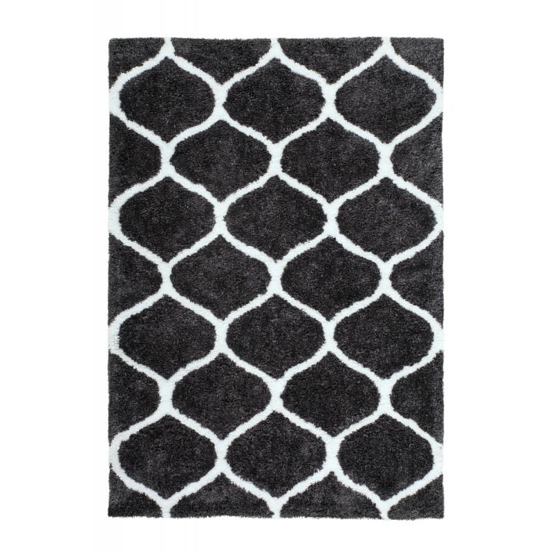 Tapis graphique VESUBE rectangulaire fait main (Gris-noir) - image 41594