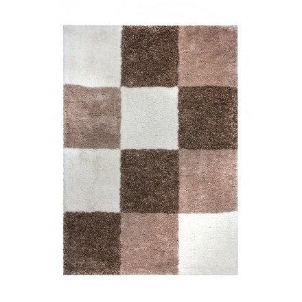 Grafischen Teppich rechteckig VIDIN getan Hand (Beige-Braun)