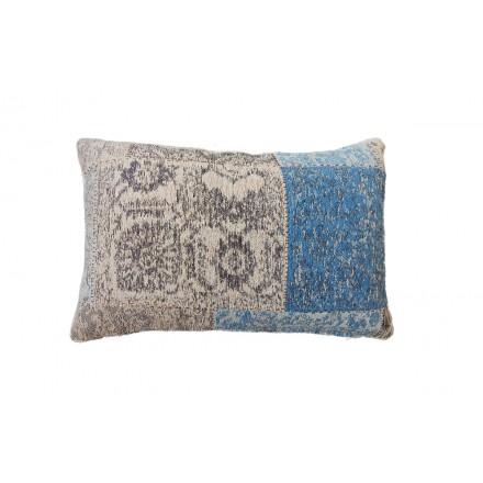 Cuscino rettangolare in jacquard MODICA a mano (Beige Blu)