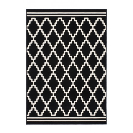 Graphic Rug Rectangular Segesta Woven Machine Black Ivory