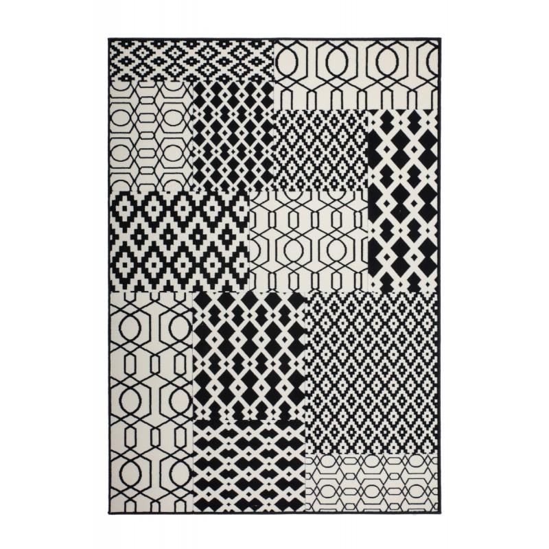 Tapis graphique NAXOS rectangulaire tissé à la machine (Noir Ivoire) - image 41646