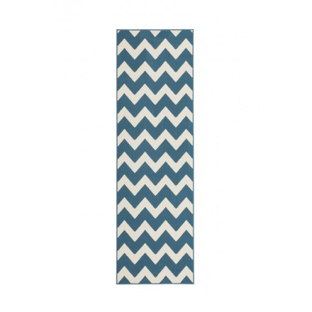 Graphic rug rectangular LICATA woven machine (turquoise ivory)