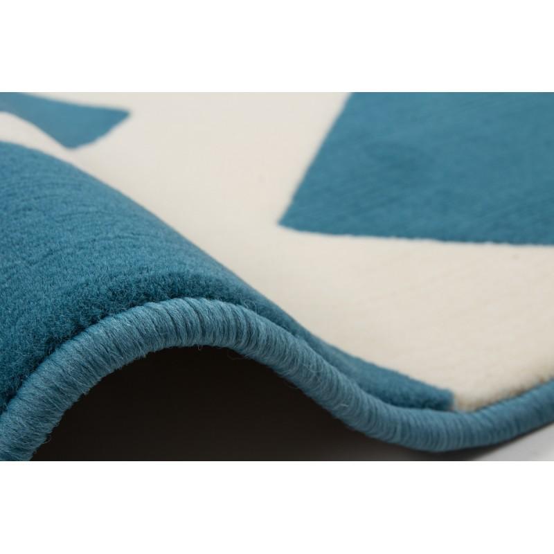 Tapis graphique LICATA rectangulaire tissé à la machine (Bleu turquoise Ivoire) - image 41698