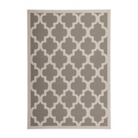 Graphic rug rectangular ALCAMO woven machine (Taupe Beige)