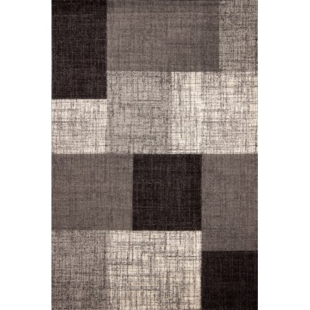 Tapis graphique CORLEONE rectangulaire tissé à la machine (Gris)