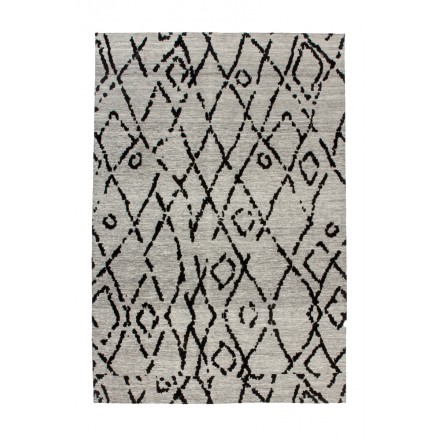Retro carpet is hand made rectangular HOUSTON hand (gray, black)