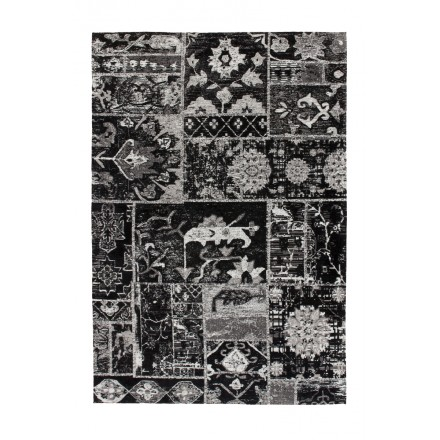 Retro carpet is hand made rectangular ORLANDO hand (gray, black)