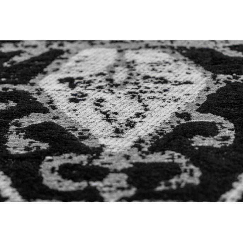Tapis rétro fait main ORLANDO rectangulaire fait main (Gris  Noir) - image 41778