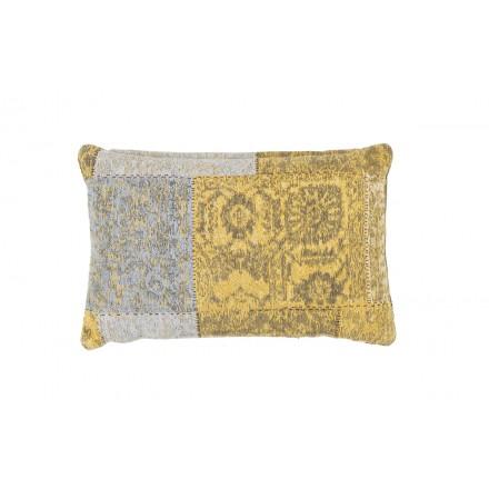 Cuscino dell'annata rettangolare patchwork Symphony a mano (giallo-blu)