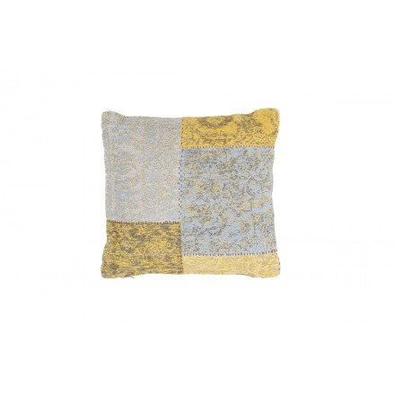 Vintage Symphony square patchwork cushion handmade (yellow-blue)