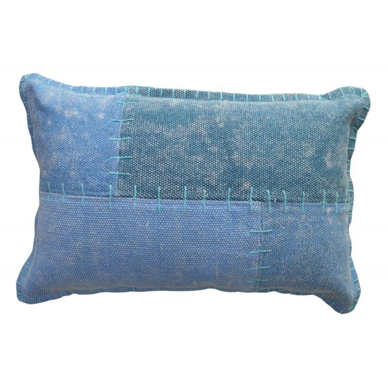 Coussin patchwork vintage LYRICAL rectangulaire fait main (Bleu)