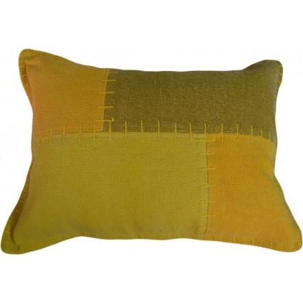 LIRICO dell'annata rettangolare patchwork cuscino fatto a mano (giallo verde)