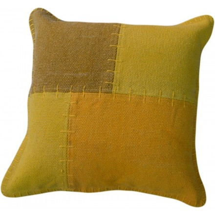 Vintage LYRICAL square patchwork cushion handmade (green yellow)