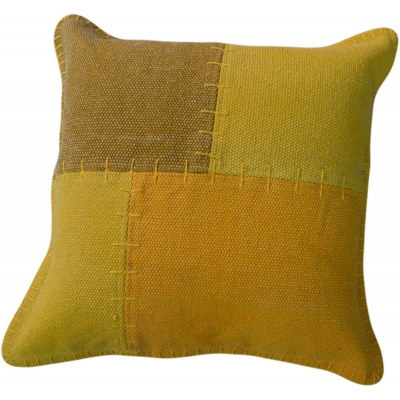 Coussin patchwork vintage LYRICAL Carré fait main (Jaune vert) - image 41810