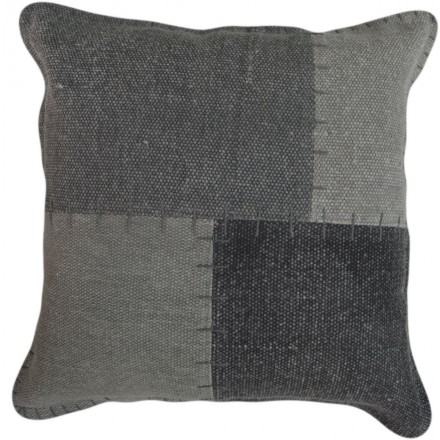 Vintage LYRICAL square patchwork cushion handmade (gray)