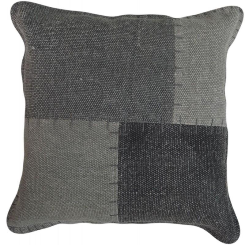 Coussin patchwork vintage LYRICAL Carré fait main (Gris) - image 41812