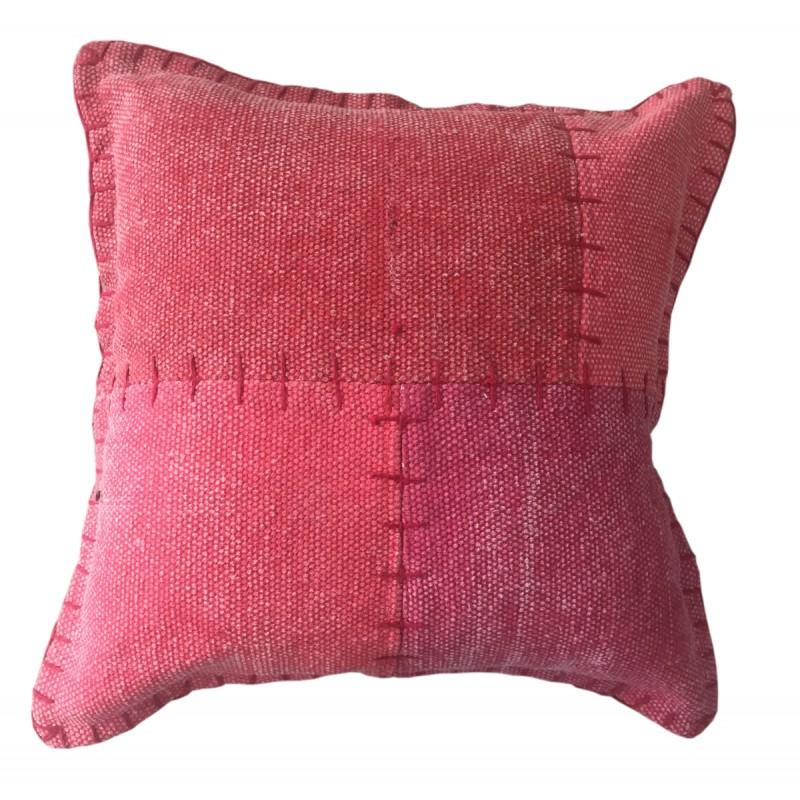 Coussin patchwork vintage LYRICAL Carré fait main (Rouge) - image 41815