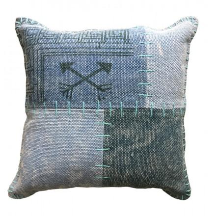 Cuscino patchwork rettangolare di vintage FINCA fatti a mano (verde blu)