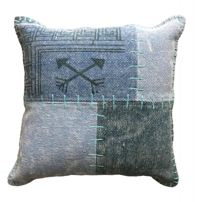 Coussin patchwork vintage FINCA rectangulaire fait main (Bleu vert)