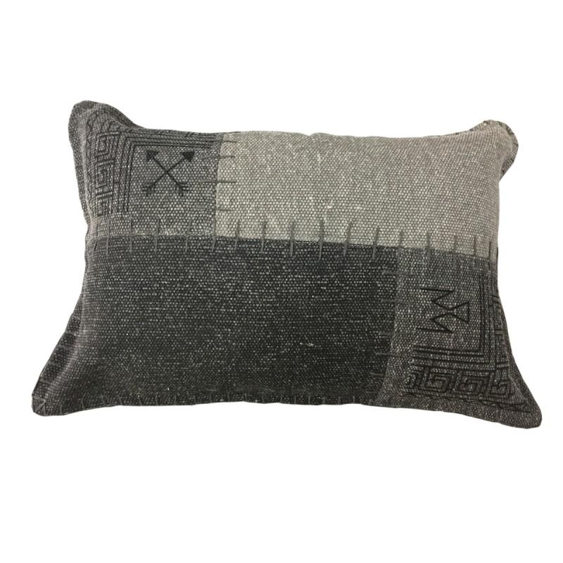 Coussin patchwork vintage FINCA rectangulaire fait main (Gris anthracite)