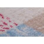 Tapis vintage TOUSIN rectangulaire tissé à la machine (Beige Rouge Bleu)