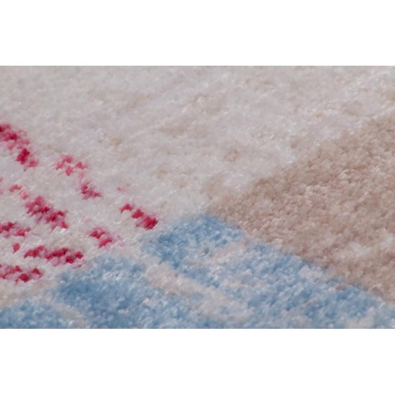 Tapis vintage TOUSIN rectangulaire tissé à la machine (Beige Rouge Bleu) - image 41868