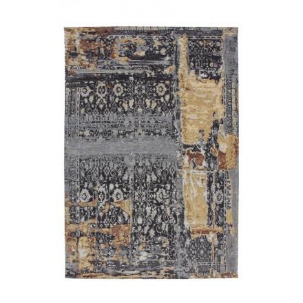 Vintage rechteckige BUFFALO Teppiche gewebt maschinell (blau-Beige)
