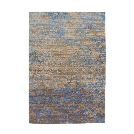 Tapis vintage COLOMBUS rectangulaire tissé à la machine (Bleu Marron)