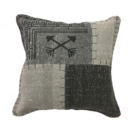 Vintage patchwork quadrati FINCA cuscino fatto a mano (grigio antracite)