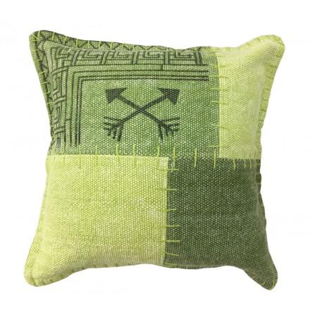 Cuscino d'epoca quadrati patchwork FINCA a mano (verde)